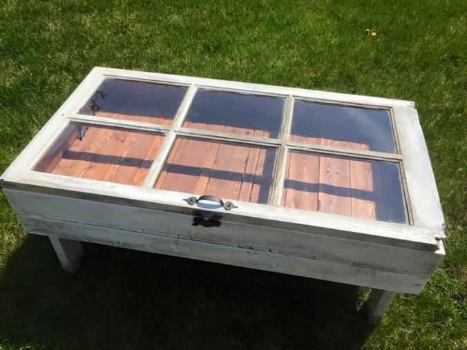 DIY Rustic Coffee Table From And Old Window With Storage